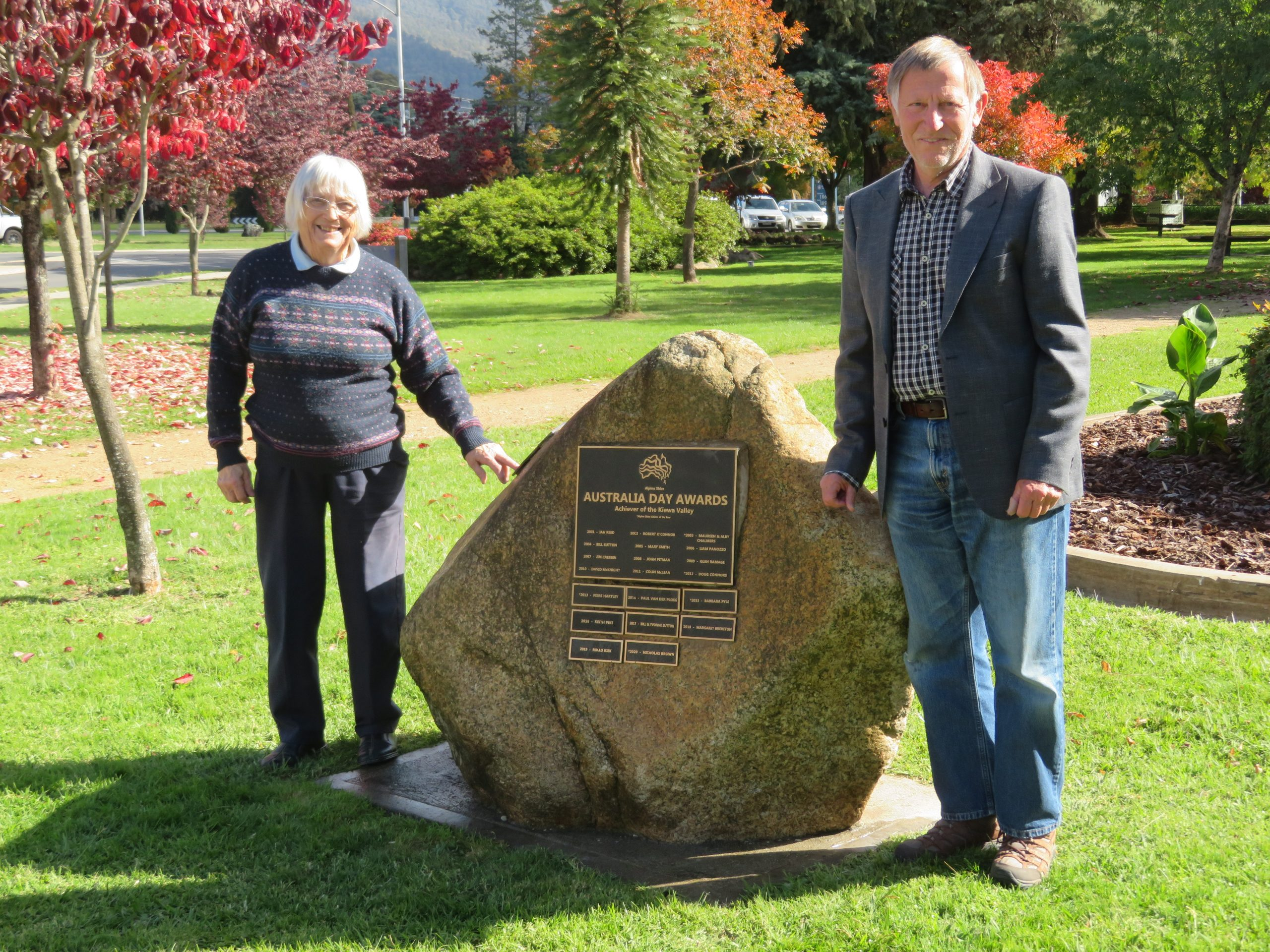2020 Hazel Riordan, Alpine Shire Lifetime Achievement Award and Nicholas Brown, Alpine Shire Citizen of the Year 2020